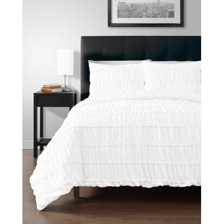 2pc Comforter set, WHITE Color Ruched Collection By Cozy Beddings - Halloween Comforter