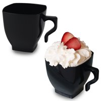 White Plastic Coffee Cups - 8oz Square Mugs with Handle - Disposable or Reusable (16 Cups)