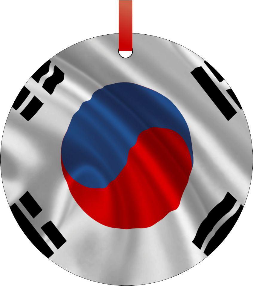 South Korea Flag TM Double-Sided Round-Shaped Flat Aluminum Christmas Holiday... by Accessory Avenue