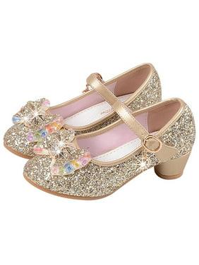 KidPika Girl's Bowknot Princess Kids Performance Shoes Bling Sequins Mid Heels Dress Shoes