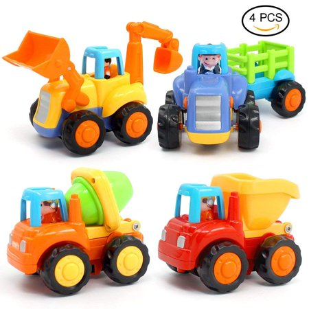Inertia Toy Early Educational Toddler Baby Toy Friction Powered Cars Push and Go Cars Tractor Bulldozer Dumper Cement Mixer Engineering Vehicles Toys for Children Boys Girls Kids Gift - Girls Engineering Toys
