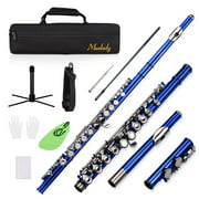 Muslady Closed Hole C Flute 16 Keys Cupronickel Nickel-plated Wind Instrument with Carry Case Flute Stand Gloves Cleaning Cloth Mini Screwdriver Cleaning Rod