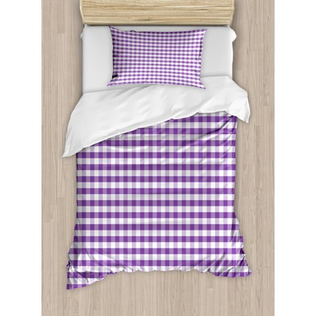 Checkered Duvet Cover Set, Purple and White Colored Gingham Checks Rows Picnic Theme Vintage Style Print, Decorative Bedding Set with Pillow Shams, Purple White, by Ambesonne ()