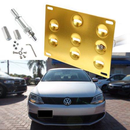 Xotic Tech Gold Tow Hook License Plate Bumper Mount Bracket Fit Volkswagen Jetta 2011-2016