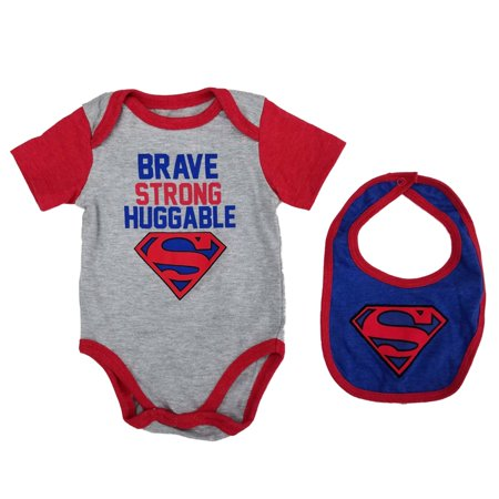 DC Comics Infant Boys Superman Brave Strong Huggable Bodysuit & Bib Set](Superman Baby)