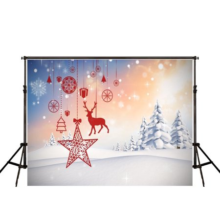 ABPHOTO Polyester 7x5ft White Christmas Photography Backdrop Red Paper Cut and Snow Tree Photo Background for Children Cute Back Drops - Photo Backdrop Paper