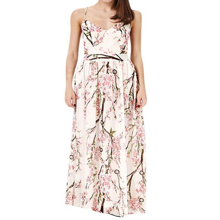 Ladies Pullover Floral Print Fully Lined Casual Maxi Dress White Pink L