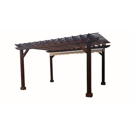 12 ft. x 12 ft. Mission Brown Redwood Pergola (Best Wood For Pergola)