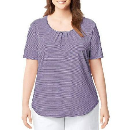 89783f06f951e J M S - by Hanes Women's Plus-Size Short-Sleeve Striped & Shirred Scoop-Neck  Tee - Walmart.com