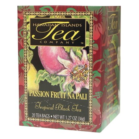 Passion Fruit Na Pali Tropical Black Tea, All Natural, 20 Teabags, Blended and Packed in