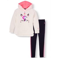Limited Too Sequin Unicorn Hoodie and Side-Taped Legging, 2-Piece Outfit Set (Little Girls & Big Girls)