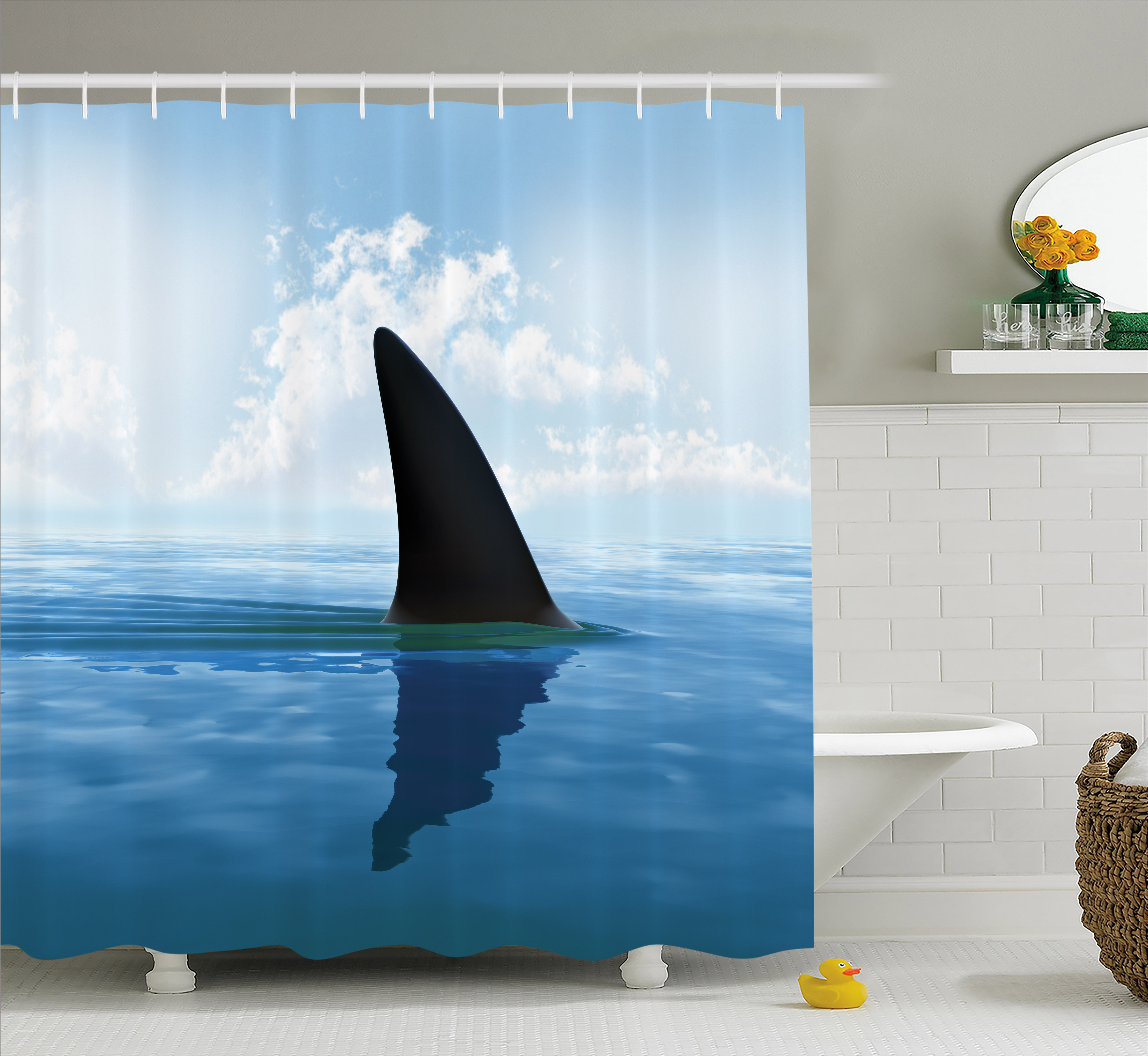Shark Shower Curtain, Shark Fish Fin over the Sea Surface Danger Caution Themed Picture, Fabric Bathroom Set with Hooks, 69W X 70L Inches, Grey Violet and Light Blue, by Ambesonne