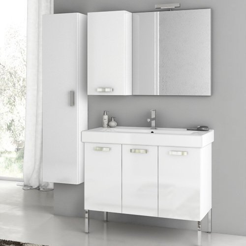 ACF by Nameeks ACF C11-GW Cubical 37-in. Single Bathroom Vanity Set - Glossy White