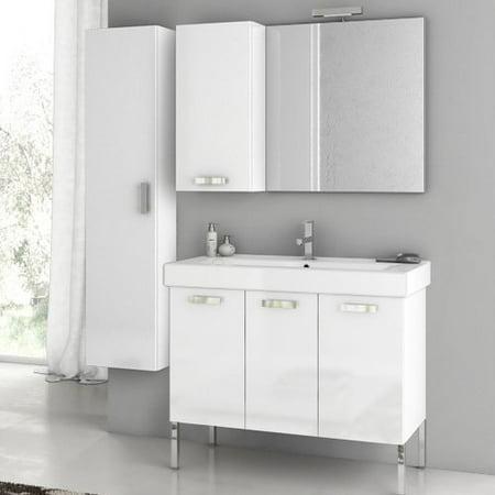 ACF by Nameeks ACF C11-GW Cubical 37-in. Single Bathroom Vanity Set - Glossy White
