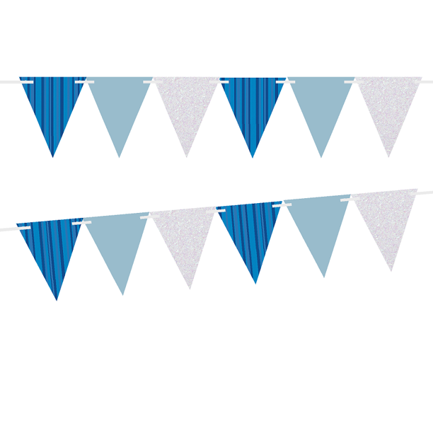 Blue Stripes Solid Light Blue Glitter Silver 10ft Vintage Pennant Banner Paper Triangle Bunting Flags For Weddings Birthdays Baby Showers Events Parties Walmart Com Walmart Com