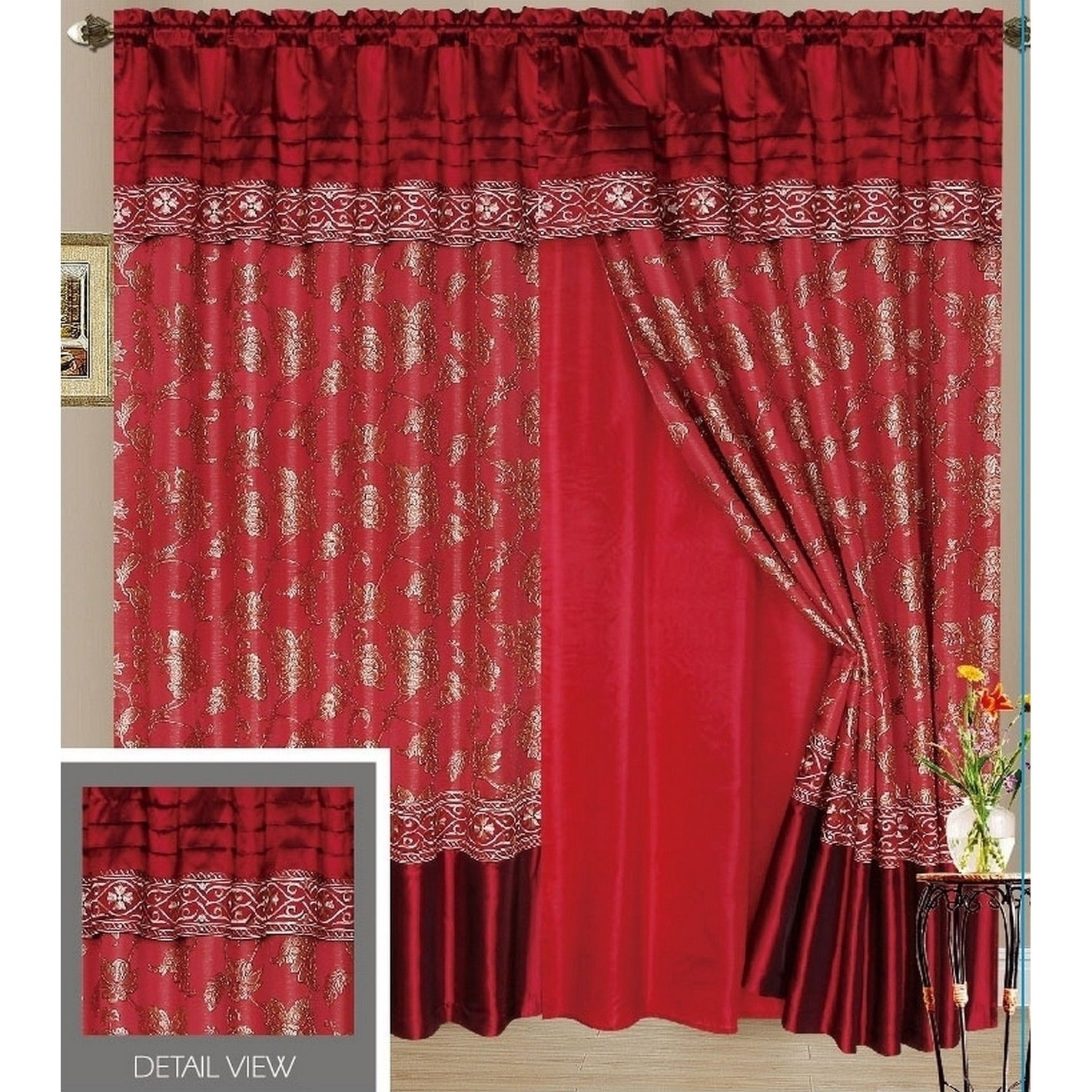Ocean Luxury Lined Curtain Drapes Set and Valance Window ...