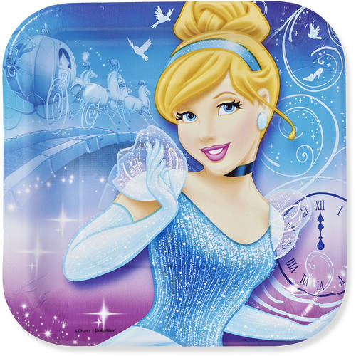 "Cinderella 7"" Square Plate, 8 Count, Party Supplies"