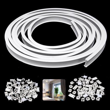 Bestller 13ft Curtain Track Ceiling Mounted Straight Curved Ceiling Track Set Top Side Mounting Ceiling Installation for Widows Curtain Room Divider Curtain ()