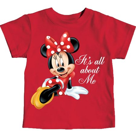 Minnie Mouse Toddlers Girls T-Shirt Red It's All About Me Glitter Print Tee Top](Red Minnie Mouse Decorations)