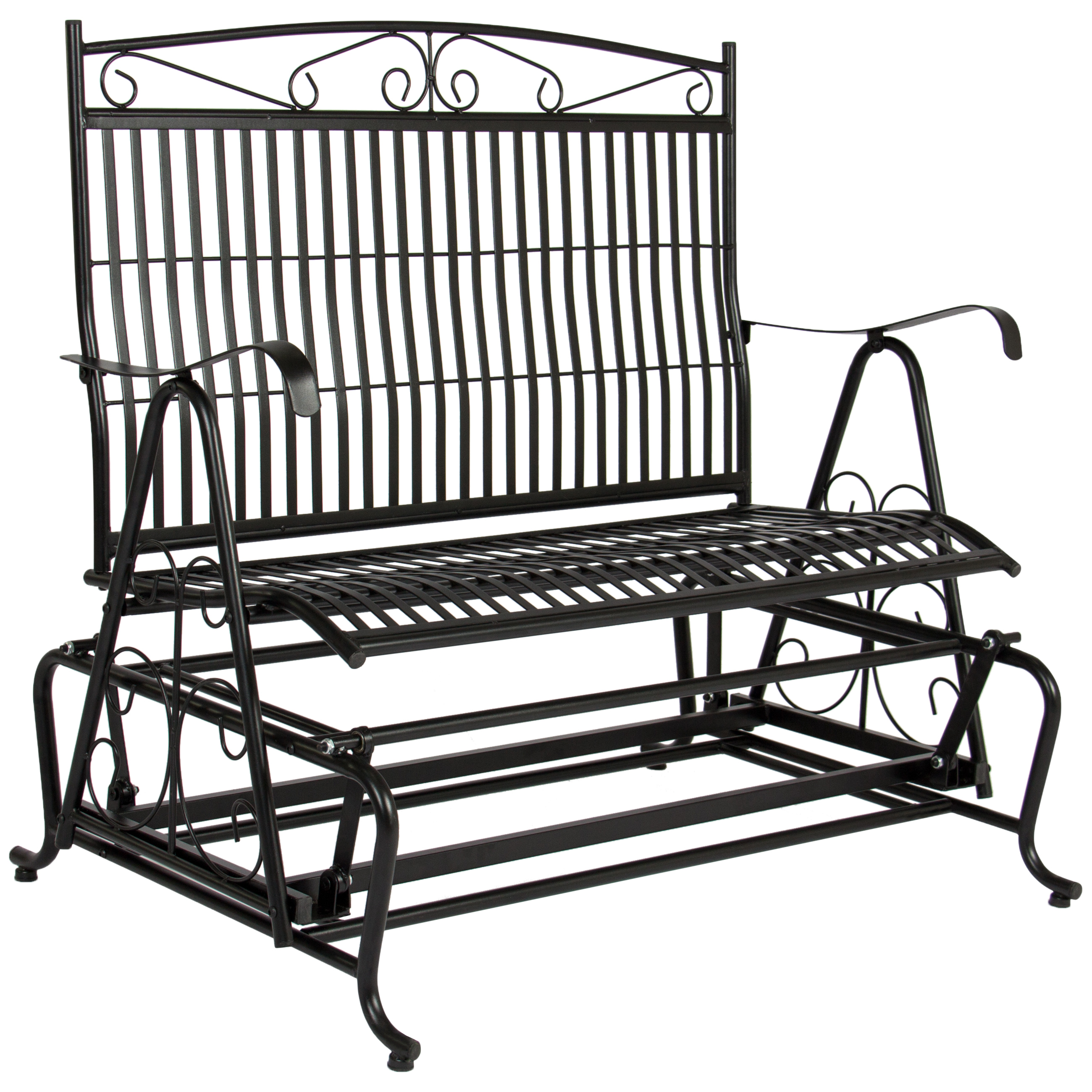 Best Choice Products Patio Iron Double Rocker Bench Porch Glider
