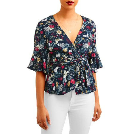 Rifle Sleeve (L.N.V. Women's Ruffle Sleeve Wrap Top )