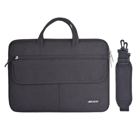 Mosiso Polyester Flapover Compartment Style Laptop Shoulder Briefcase Messenger Bag Case for 13-13.3 Inch MacBook Pro, MacBook Air, Notebook, Black