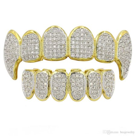 Gold Teeth Grills (14K Gold Plated Hip Hop Iced Out CZ Grillz Fang Top & Bottom Grill Mouth)