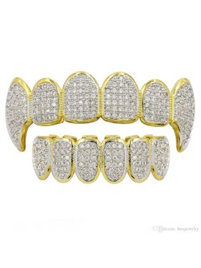 Product Image TekDeals 14K Gold Plated Hip Hop Iced Out CZ Grillz Fang Top    Bottom Grill Mouth 08dc927a450b