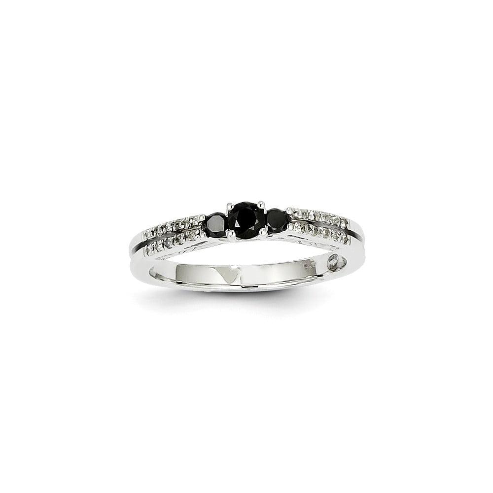 14K White Gold White & Black Diamond Ring. Carat Wt- 0.36ct