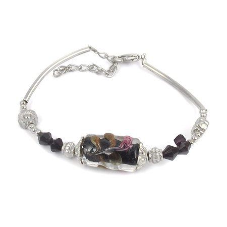 Accented Clasp - Women Lobster Clasp Link Cylinder Bead Accent Wrist Bracelet Black