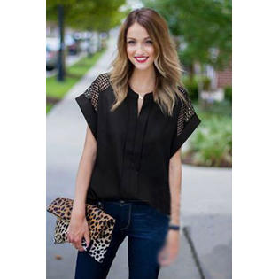 Women Loose Plus Size Lace Decorated Sleeves Blouse Black
