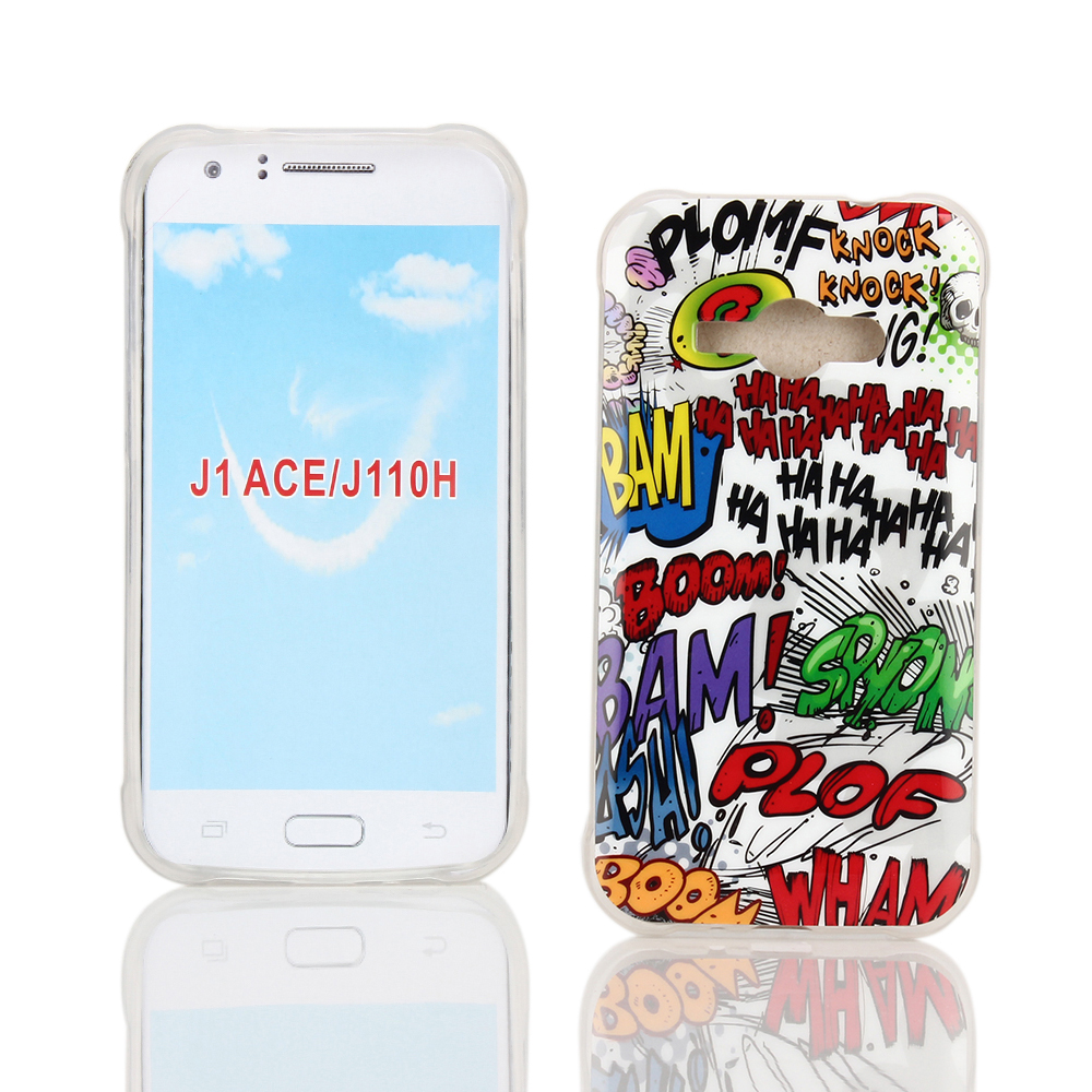 KMO Samsung Galaxy J1 Ace Case Cover [Shock Absorbing] [Thin Fit] Soft TPU Gel Skin Protection - Multicoloured / White Comic Captions