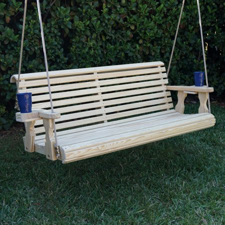 Amish Heavy Duty 800 Lb Roll Back Treated Porch Swing with Hanging Ropes and Cupholders (4 Foot, - Unfinished Swing