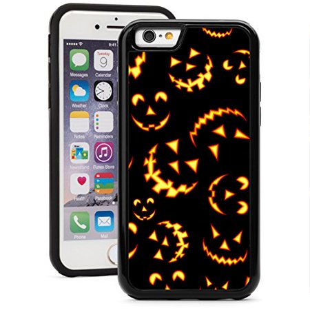 Apple Jacks Farm Halloween (For Apple iPhone 6 6s Shockproof Impact Hard Soft Case Cover Halloween Jack O Lantern Faces Pattern)