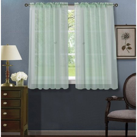 Colors That Go With Mint Green (2pc Mint Green Solid Sheer Voile Window Curtain Set, Two (2) Rod Pocket Panels 55