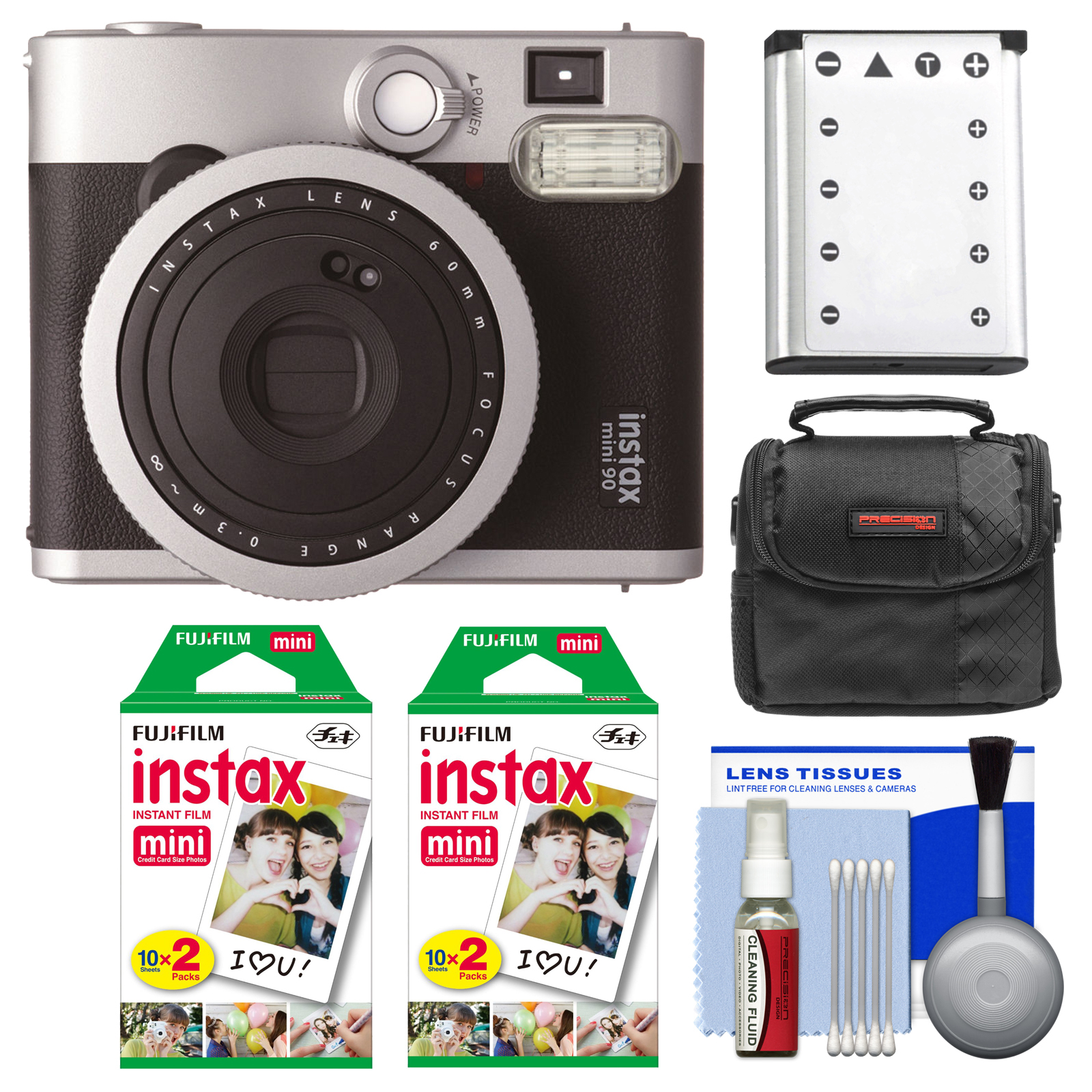 FujiFilm Instax Mini 90 Neo Classic Instant Film Camera with (2) Instant Film + Case + Battery + Cleaning Kit by Fujifilm