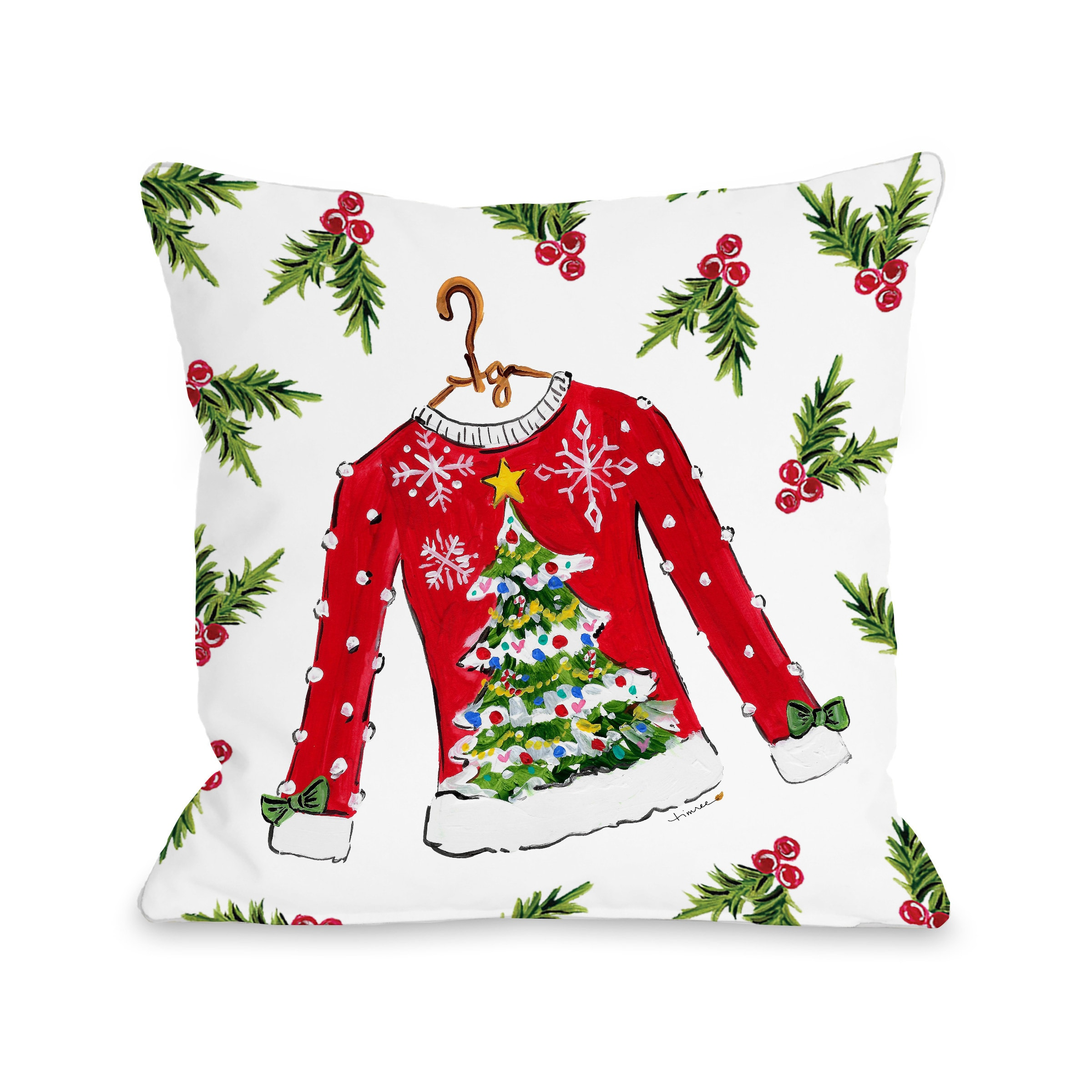 Tree Sweater - Red 16x16 Pillow by Timree Gold