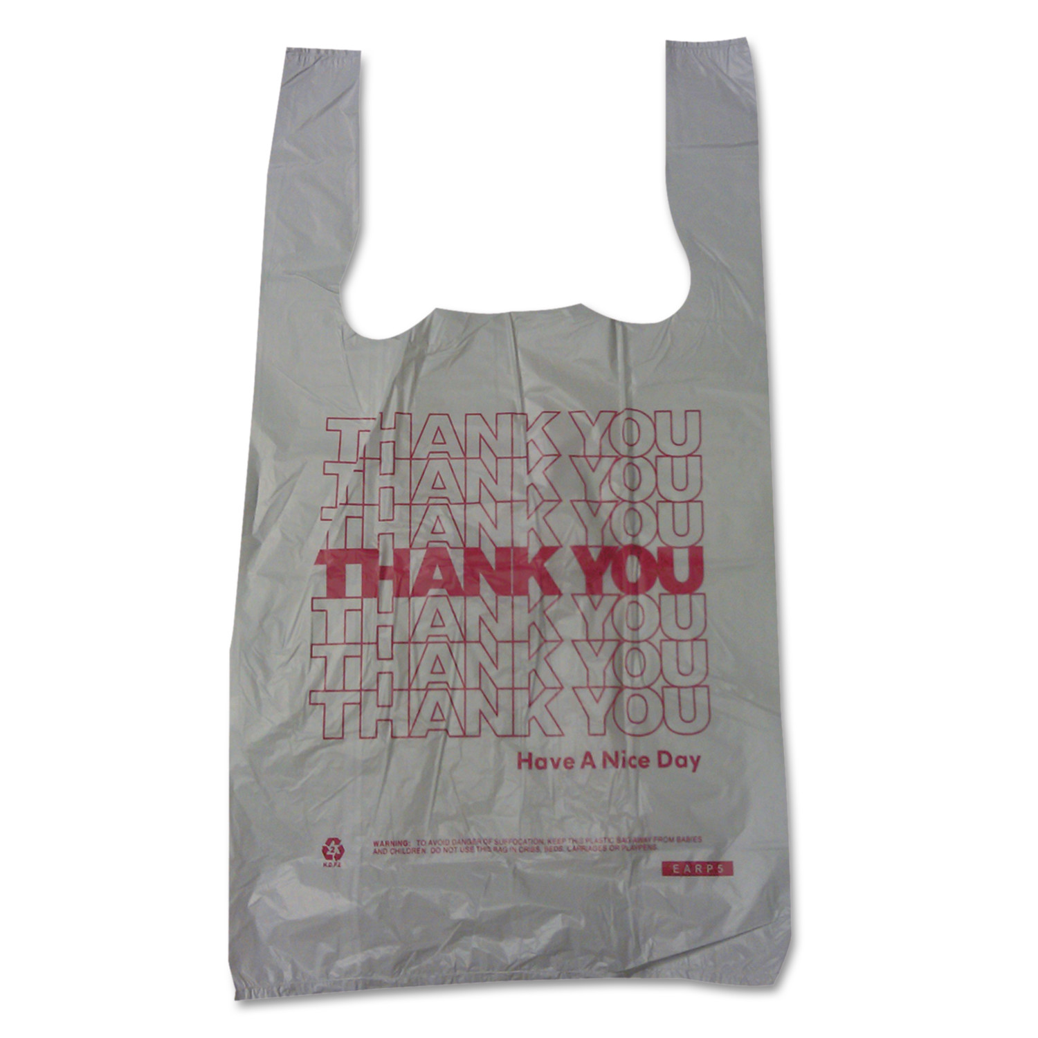 "Barnes Paper Company Plastic Thank You T-Sacks, 6"" x 4"" x 15"", 2 Mil, 2000 Bags"