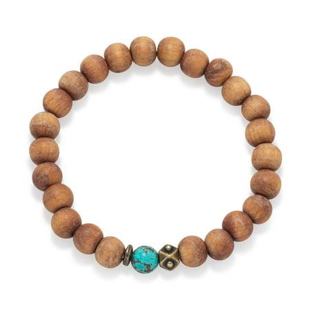 AzureBella Jewelry Wood Bead Stretch Bracelet with 9mm Beads Mens Womens