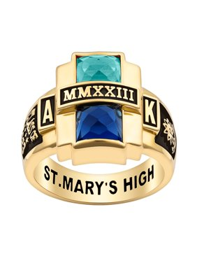 Personalized Women's Rhodium, Gold or Rose Gold Plated Double Birthstone Rectangle Class Ring