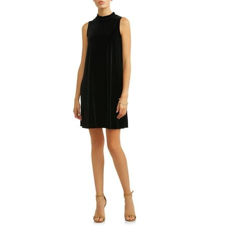 Women's Sleeveless Velvet A-Line Dress
