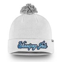 Winnipeg Jets Fanatics Branded Women's Team Dazzle Cuffed Knit Hat with Pom - White - OSFA