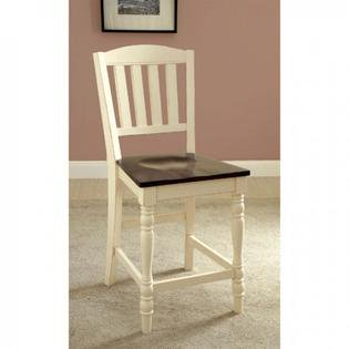 - Harrisburg II Counter Hieght Chair Set of 2 Cottage Style in Vintage White and Dark Oak Finish