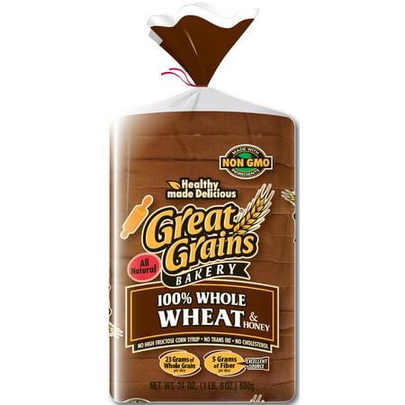 Great Grains Bakery 100% Whole Wheat & Honey Bread, 24 oz ...