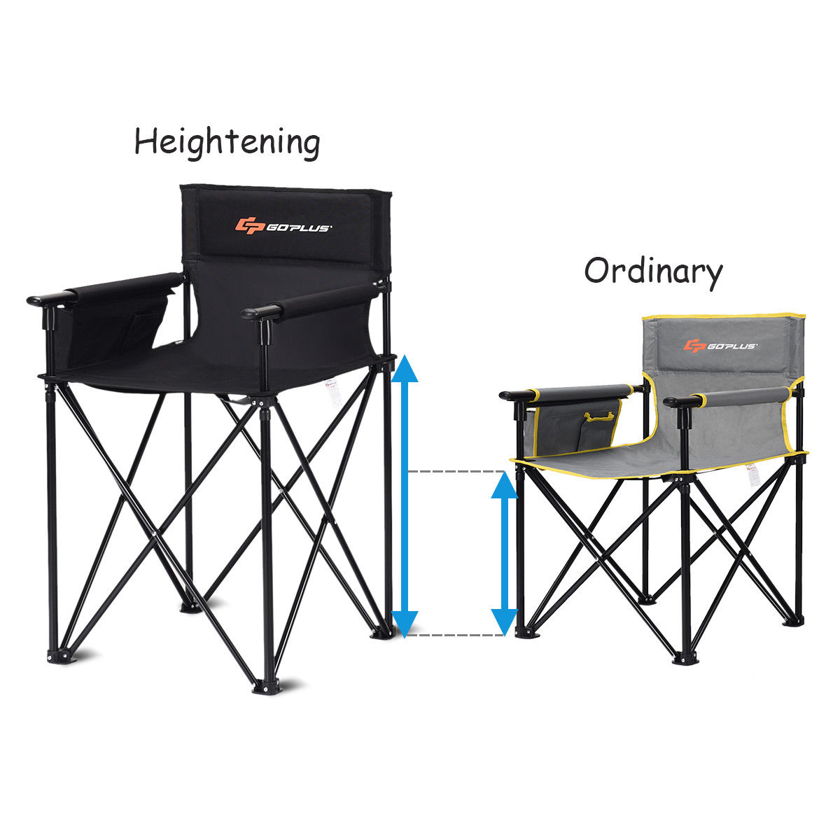 """Portable 38"""" Oversized High Outdoor Beach Chair Camping Fishing Folding Chair - image 7 de 10"""