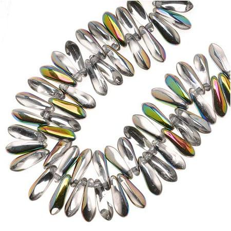 Czech Glass 3 x 10mm Dagger Beads - Crystal Vitrail  (50)