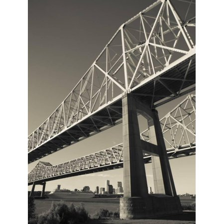 USA, Louisiana, New Orleans, the Greater New Orleans Bridge and Mississippi River Print Wall Art By Walter Bibikow