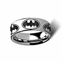 Thorsten Batman Dark Knight Super Hero Tungsten Engraved 8mm Band Ring by from Roy Rose Jewelry