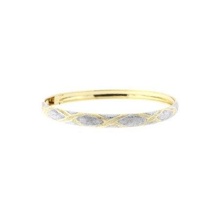 10k Yellow and White Gold Two-Tone 6mm Textured X Pattern Bangle Bracelet, 7