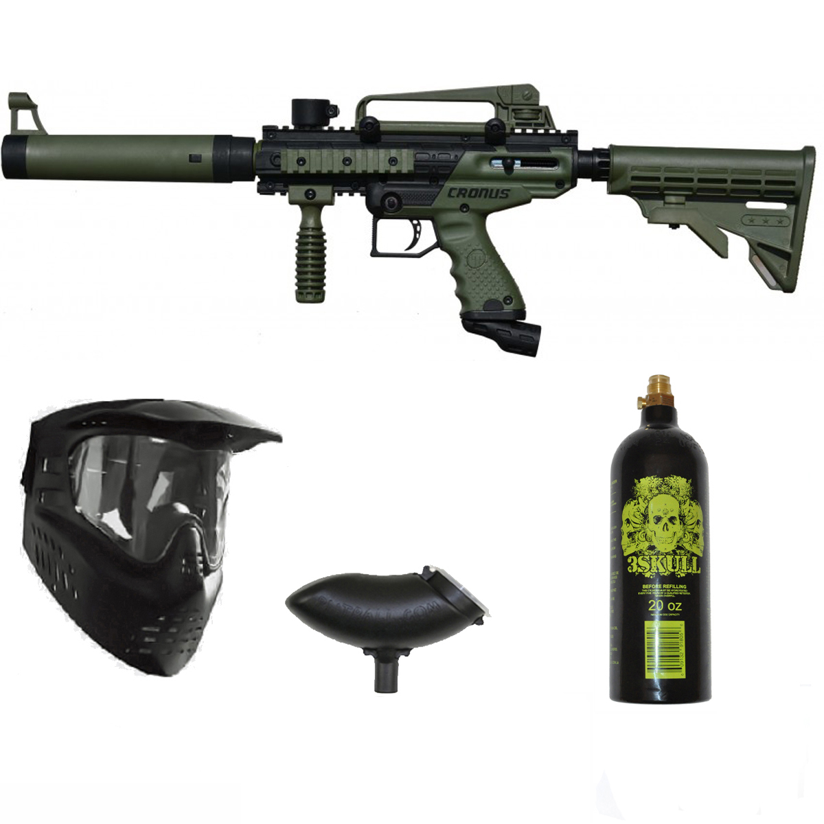 Tippmann Cronus Tactical Paintball Gun 3Skull Package Set Olive by